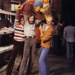 "Richard Hunt ""right-hands"" for Jim Henson as Ernie. Frank Oz plays Bert. Sesame Street set, late '70s."