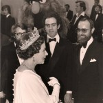 Nelson, Hunt, Dave Goelz, and Louise Gold (in Sweetums costume) meet Queen Elizabeth. Royal Variety Performance, London,  November 1977