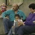 Forgetful Jones, Orman, Orman's real-life son Miles, and Loretta Long. Sesame Street set, late 1980s.