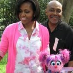 Orman with First Lady Michelle Obama and Muppet Abby Cadabby at the White House Easter Egg Hunt, 2010.