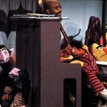 Jerry Nelson as the Count, Jim Henson as Ernie, Orman and Bob McGrath, filming Sesame Street episode 900, 1976.