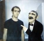 "Richard Hunt and puppet backstage at ""Herb Alpert & the Tijuana Brass,"" 1974."